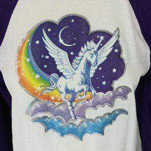 Vintage 80s Unicorn Pegasus Ringer T Shirt Size M